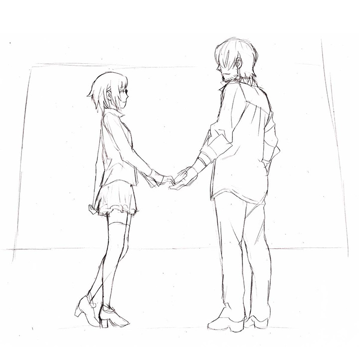 イヴの時間_スケッチ(ナギと潮月)